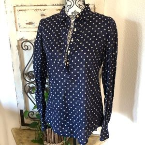 Trovata birds of paradise blue polka dot blouse